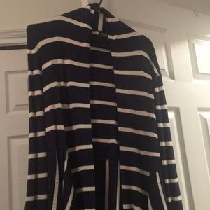 Blue and white striped A-Line cardigan